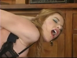 Busty redhead tities spanked before she gets fucked in the mouth by nasty brute Thumbnail