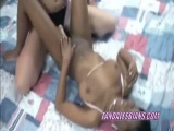 Buxom Mariah fucks ebony Mercy with her strapon Thumbnail