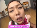 Asian cutie takes bukkake cum shower Thumbnail