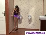 Massive fake cum bath at a gloryhole Thumbnail