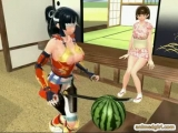 3D hentai shoving samurai in her wetpussy and assfucked by shemale Thumbnail