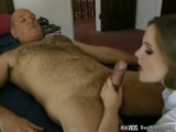 Lusty coed gets rides on old pecker Thumbnail