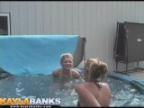 Two blonde teens making out in hot tub Thumbnail