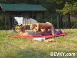 Outdoor sex of horny a...