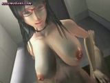 Animated brunette enjoys a cock Thumbnail