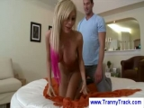 Blonde tranny gives a ...