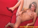 very hot blonde on the red sofa Thumbnail