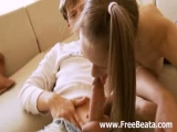 Pigtailed Russian lovers enjoy oral sex Thumbnail