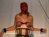 Deviant guy squeeze ladys tits with a rope in bondage tape Thumbnail