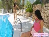 Brunette chick stripping outdoors Thumbnail