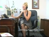 Secretary with no panties on at her desk spreads her nylon legs Thumbnail