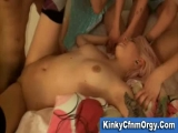 Cfnm babes and lucky guy have reversed gangbang Thumbnail