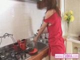 Sexy girl nude in the kitchen Thumbnail