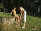 Super hot forrest blowjob