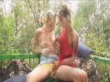 two lesbians having good time with dildo Thumbnail