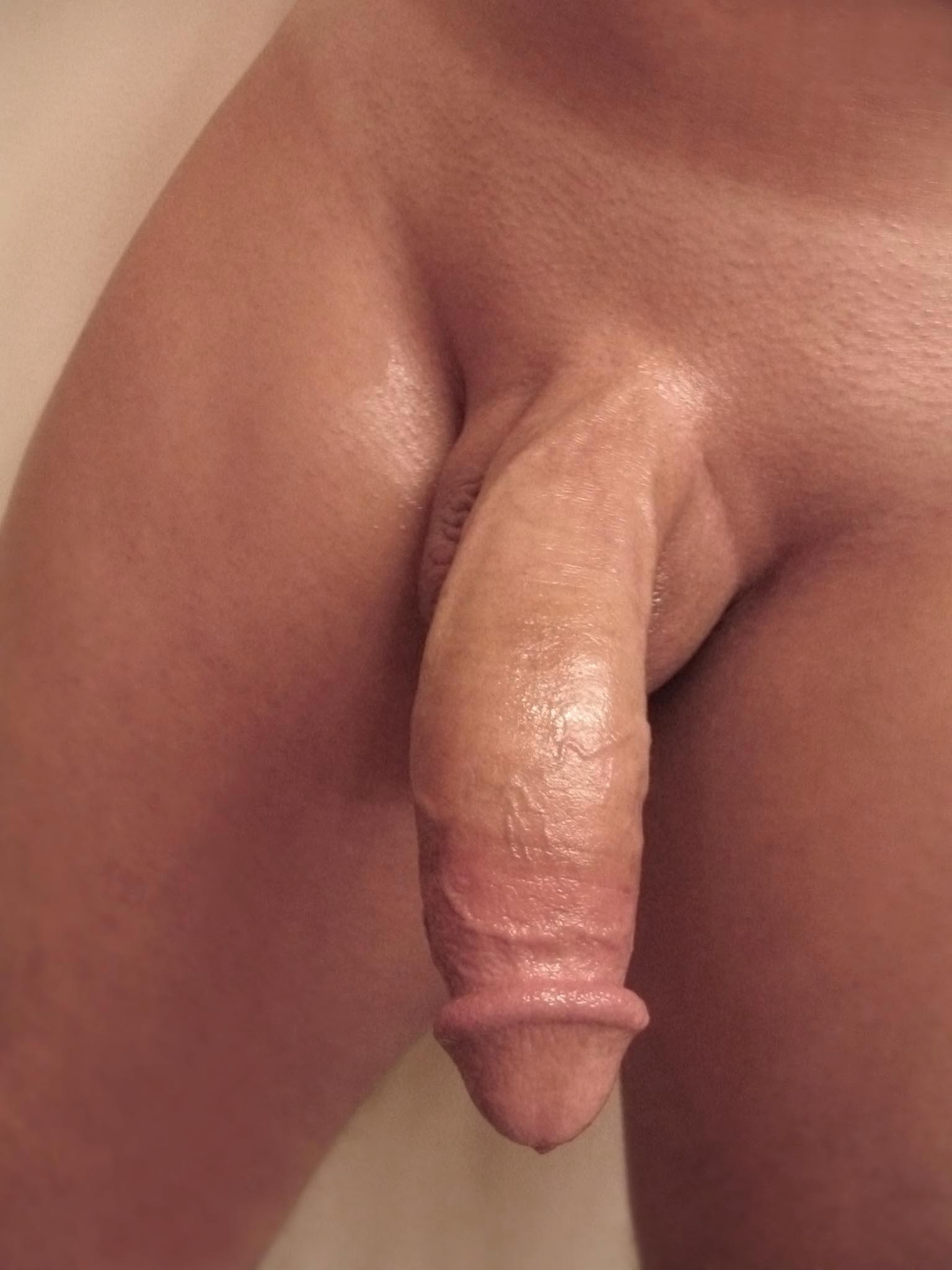 Men uncut cock close up.